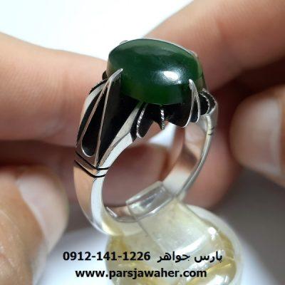 انگشتر نقره یشم سبز a376