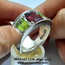 انگشتر فدیوم یاقوت زبرجد 353
