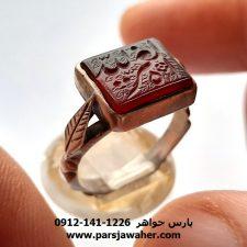 انگشتر عقیق یمنی خطی 7085