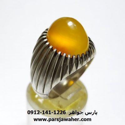 انگشتر عقیق زرد دست ساز a241