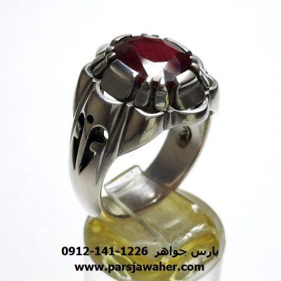 انگشتر نقره مردانه یاقوت 355