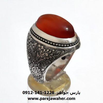 انگشتر قلمزنی عقیق یمن a404