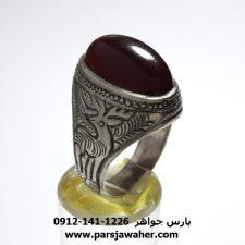 انگشتر قدیمی قلمزنی عقیق f439