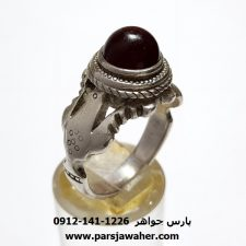 انگشتر عقیق آلبالویی مردانه a406