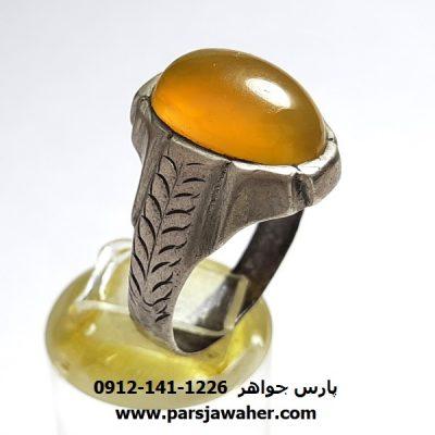 انگشتر قدیمی مردانه عقیق زرد یمنی a408