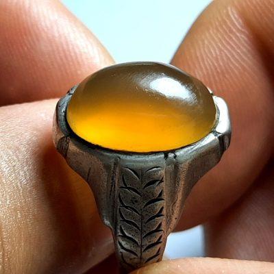 انگشتر قدیمی مردانه عقیق زرد یمنی a408.1