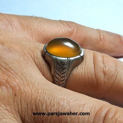انگشتر قدیمی مردانه عقیق زرد یمنی a408.2