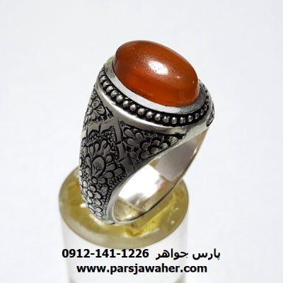 انگشتر قلمزنی عقیق یمن a413