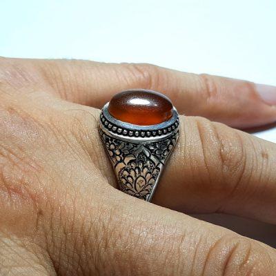 انگشتر قلمزنی عقیق یمن a413.2