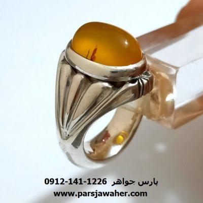 انگشتر عقیق زرد مردانه a415