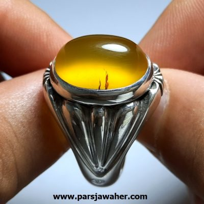 انگشتر عقیق زرد مردانه a415.1