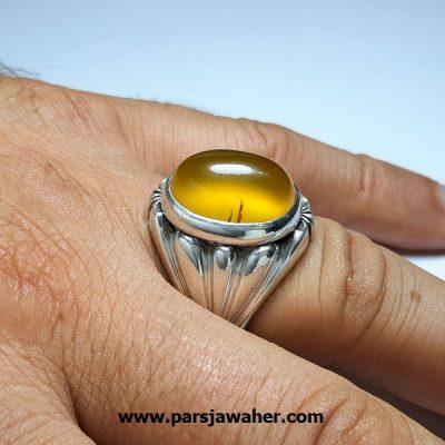 انگشتر عقیق زرد مردانه a415.3