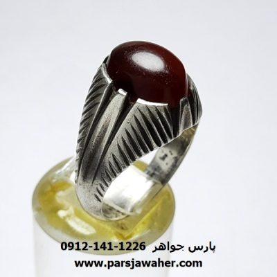 انگشتر جزع سرخ تیره یمانی a416
