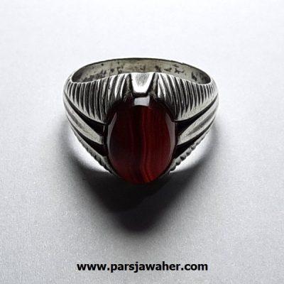 انگشتر جزع سرخ تیره یمانی a416.3