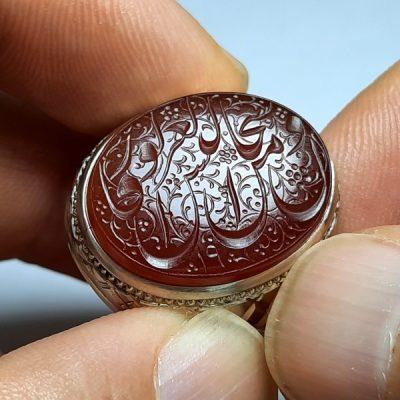 انگشتر عقیق یمنی خطی 7080.2