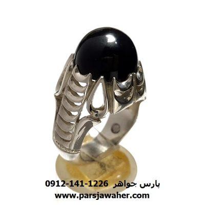 انگشتر جزع سیاه یمانی a425