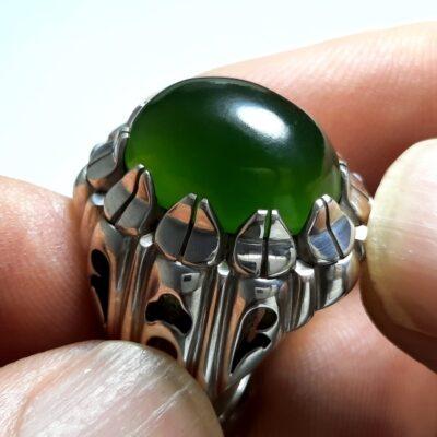 انگشتر یشم سبز مردانه a431.1