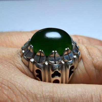 انگشتر یشم سبز مردانه a431.2