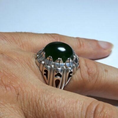 انگشتر یشم سبز مردانه a431.3