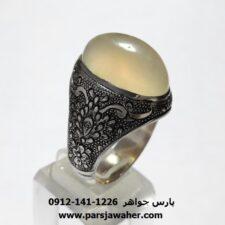 انگشتر قلمزنی عقیق نباتی یمنی a437