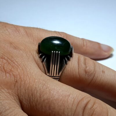 انگشتر یشم سبز مردانه a438.3