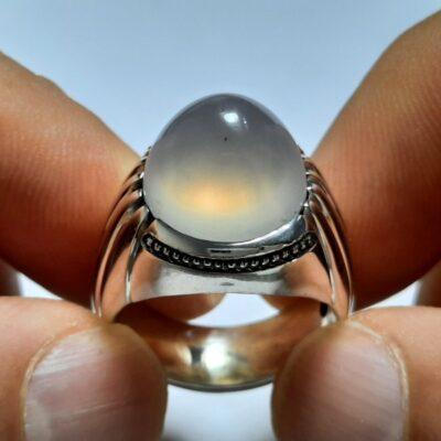 انگشتر عقیق سفید یمنی a440.1