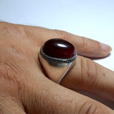 انگشتر مردانه قدیمی جزع یمانی f455.5