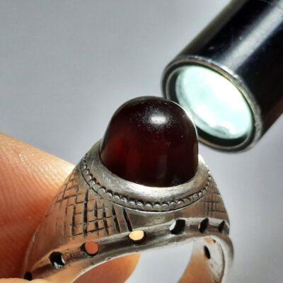 انگشتر مردانه عقیق آلبالویی یمن a444.3
