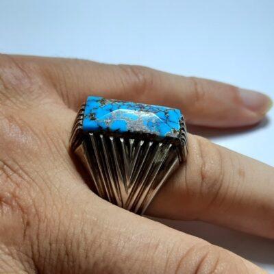 انگشتر فیروزه شجر نیشابوری مردانه 231.4