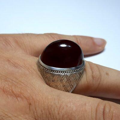 انگشتر مردانه فدیوم عقیق a447.4