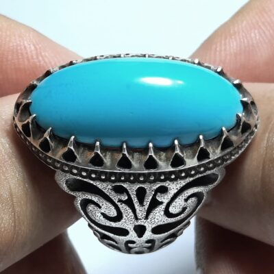 انگشتر مردانه فیروزه عجمی نیشابوری f457.1