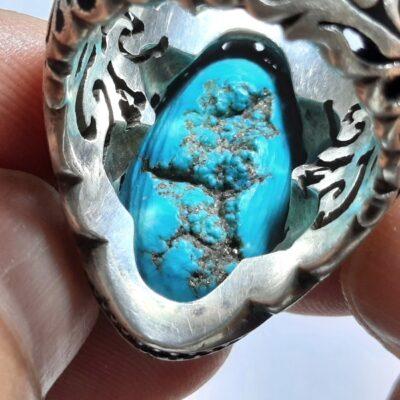 انگشتر مردانه فیروزه عجمی نیشابوری f457.3