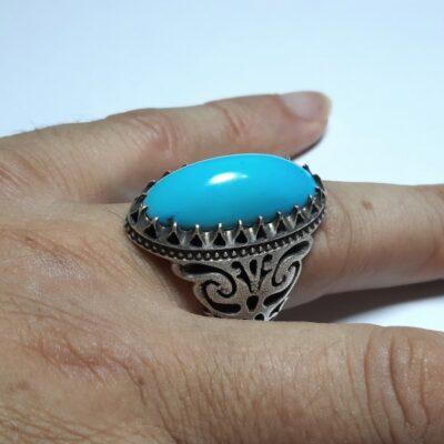 انگشتر مردانه فیروزه عجمی نیشابوری f457.4