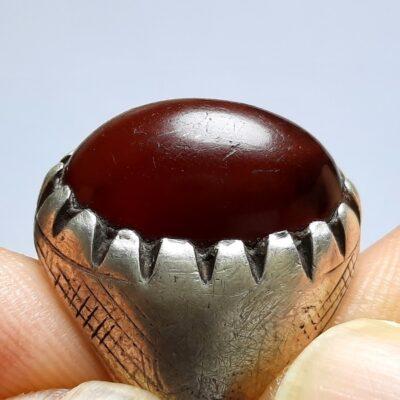 انگشتر قدیمی جزع تیره یمانی a450.1