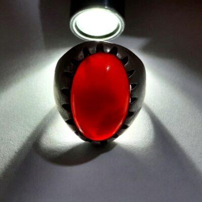 انگشتر قدیمی جزع تیره یمانی a450.4