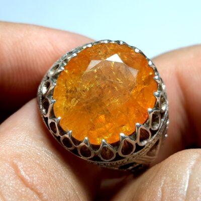 انگشتر جواهری یاقوت زرد مردانه 343.1