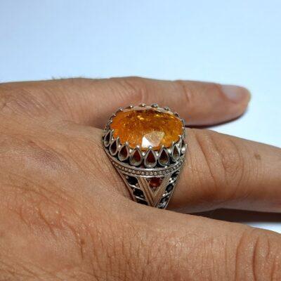 انگشتر جواهری یاقوت زرد مردانه 343.4