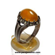 انگشتر عقیق زرد تراش قطعی یمن f464