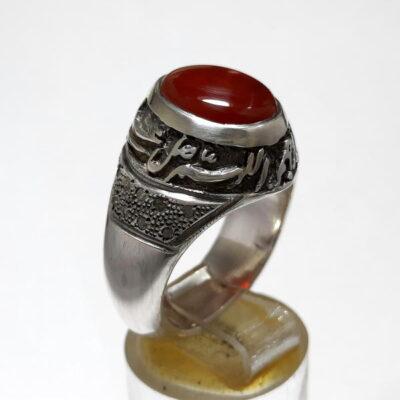 انگشتر مردانه قلم زنی عقیق f476