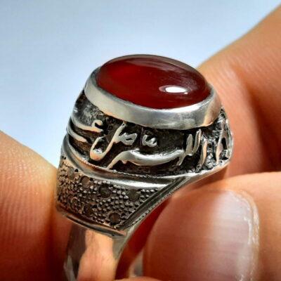انگشتر مردانه قلم زنی عقیق f476.1