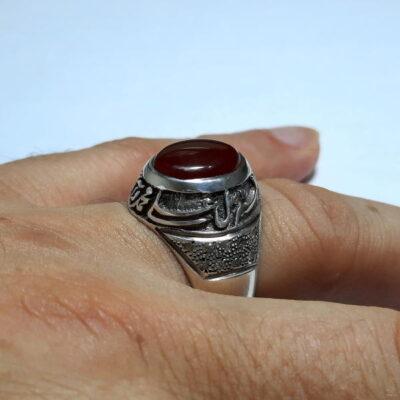 انگشتر مردانه قلم زنی عقیق f476.4