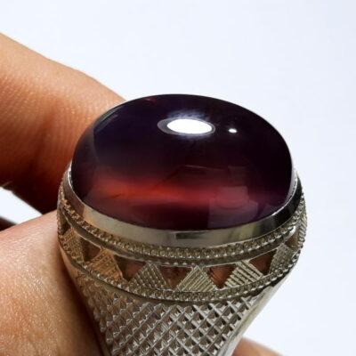 انگشتر عقیق سوسنی تیره یمن f477.1