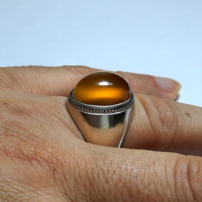 انگشتر فدیوم عقیق زرد f478.3
