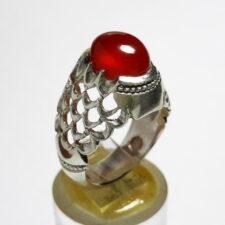 انگشتر عقیق سرخ تراش قطعی اصل یمن a454