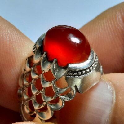 انگشتر عقیق سرخ تراش قطعی اصل یمن a454.1