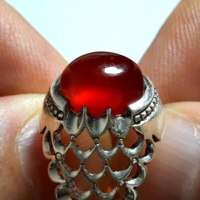 انگشتر عقیق سرخ تراش قطعی اصل یمن a454.2