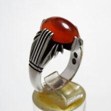 انگشتر مردانه عقیق تراش ثبتی یمنی a455