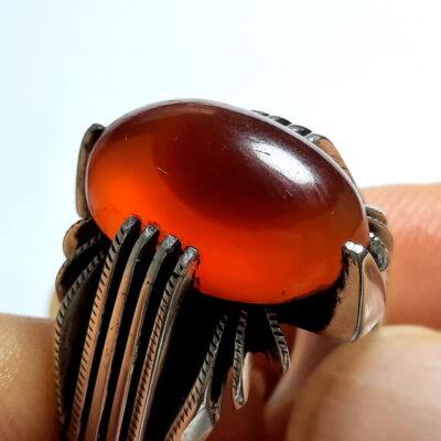 انگشتر مردانه عقیق تراش ثبتی یمنی a455.1