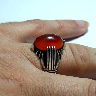 انگشتر مردانه عقیق تراش ثبتی یمنی a455.4