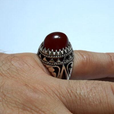 انگشتر جزع تراش قطعی سرخ یمانی اصل f480.5